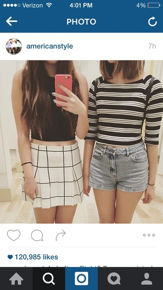 skirt shorts denim crop tops stripes cute top cropped summer black and white jeans denim shorts white crop tops black crop top striped top cute outfits cropped shirt summer outfits skater skirt pleated skirt black and white skirt