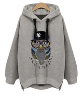 sweater,grey,hoodie,owl,casual,teenagers,fashion,style,trendy,beautifulhalo