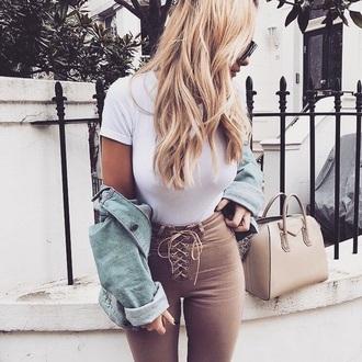 pants lace up lace camel