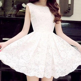 dress lace pretty white ivory cute