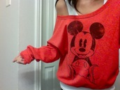 mickey mouse,red,shirt,sweater,grey