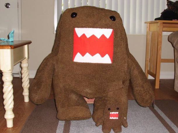 stuffed animal giant domo kun toy blouse hat