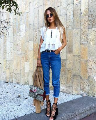 jeans tumblr cropped jeans blue jeans belt white top top lace top white lace top bag dionysus gucci gucci bag embroidered embroidered bag sandals sandal heels high heel sandals lace up sandals black sandals spring outfits sunglasses