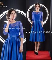 dress,royal blue mother of the bride dresses,short mother of the bride dresses,mother of the groom dresses,long sleeves lace evening dresses,evening dresses with pockets,tea length party dreses,cheap simple formal dresses,in_marry