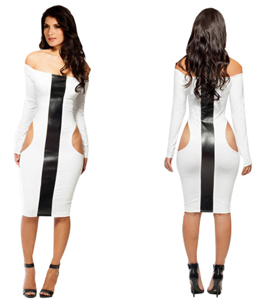 2014 Bandage Dress S M L Plus Size Vestios Women New Fashion Long Sleeve Spring White and black Bodycon Novelty Dress | Amazing Shoes UK