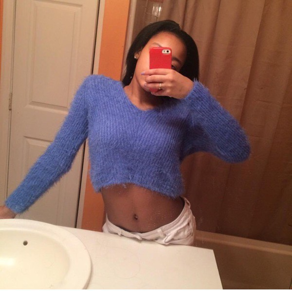 shirt cropped sweater sweater fuzzy sweater blue sweater