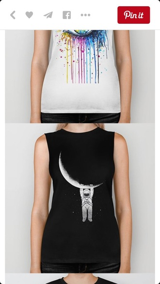 tank top top graphic crop tops muscle tee black black and white moon hipster punk rock style
