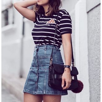 skirt tumblr denim skirt mini skirt blue skirt button up button up skirt button up denim skirt bag black bag stripes striped top fur keychain