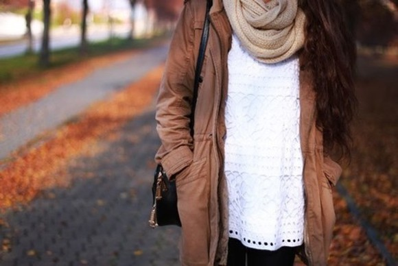jacket brown jacket lace blouse fur white