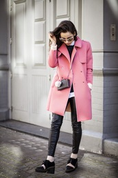 amoureuse de mode,blogger,socks,pink coat,neoprene,leather pants,black shoes,mini bag
