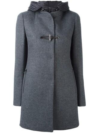 coat double breasted women wool grey