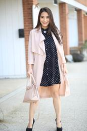 sensible stylista,blogger,dress,shoes,jacket,bag,jewels,trench coat,handbag,polka dots