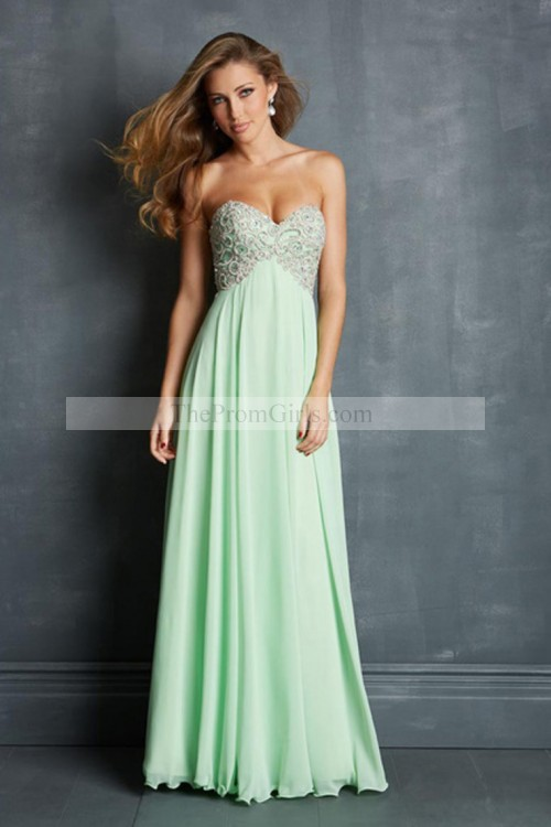 2014 Prom Dresses A Line Sweetheart Floor Length Chiffon Cheap Color Mint - Prom Under $150 - Shop Prom
