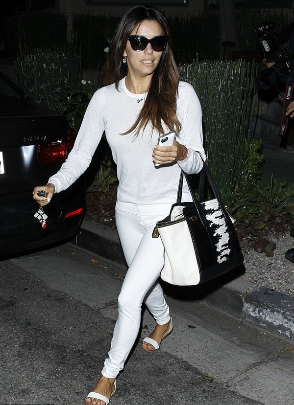 shoes eva longoria pants shirt jeans bag