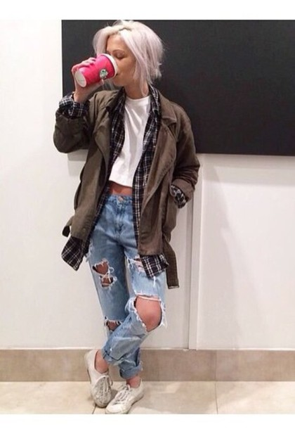 pants jacket short sleeve crop hipster boyfriend jeans ripped jeans plaid long sleeve big