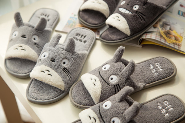 e749e60bf00 shoes fleece grey cute kawaii japanese anime fashion style animal totoro  slippers