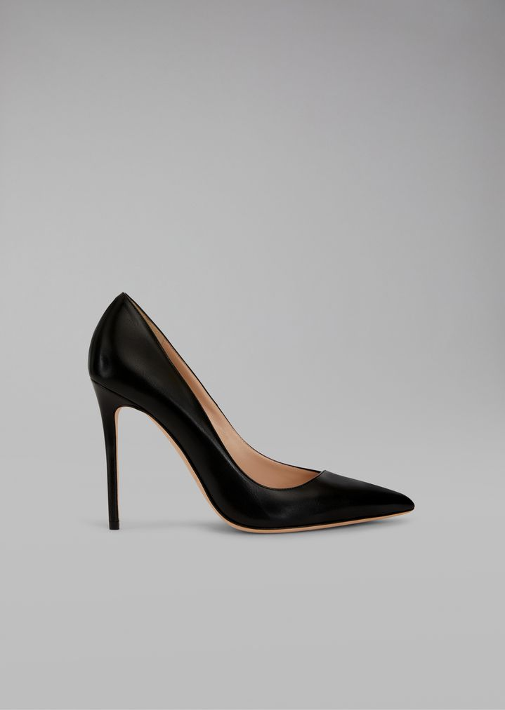 Asymmetric Court Shoes In Glossy Leather  for Women   Giorgio Armani 