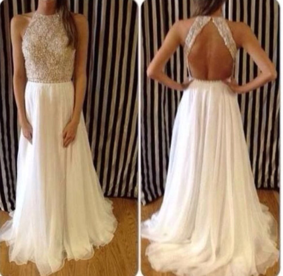white long dress elegant prom dresses 2014 open back prom dress evening dress formal dresses party dress squins high neck