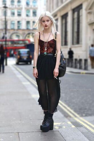 dress top skirt transparent skirt black gunge girl women grunge burgundy