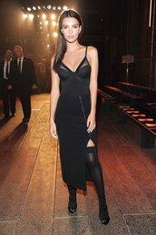 dress,black dress,emily ratajkowski,skirt,bodysuit,tights,model off-duty,all black everything,NY Fashion Week 2016,top