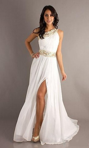 Chiffon White Dress A-Line Asymmetric Dress MV238188