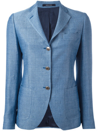blazer women cotton blue jacket