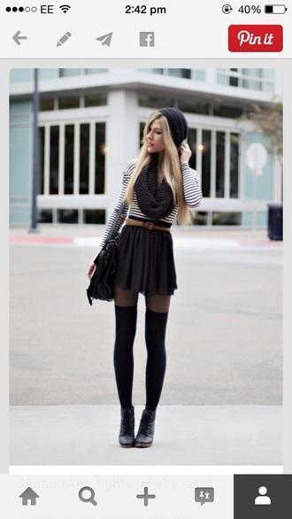 stripy black and white top. black skater skirt