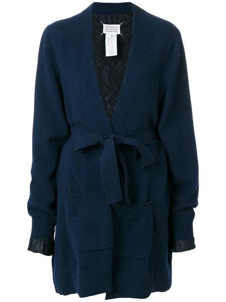 Maison Margiela - reversible tie front cardigan - women - Viscose/Wool - M, Blue, Viscose/Wool