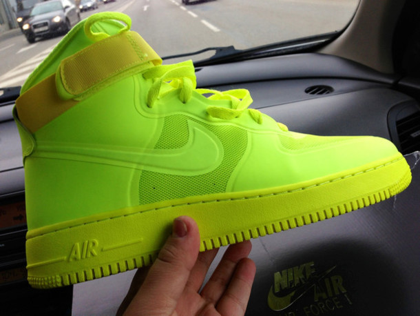 shoes lime nike sneakers high top sneakers neon bright sneakers