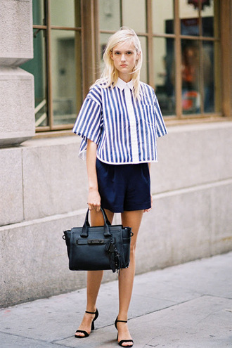 vanessa jackman blogger striped shirt leather bag
