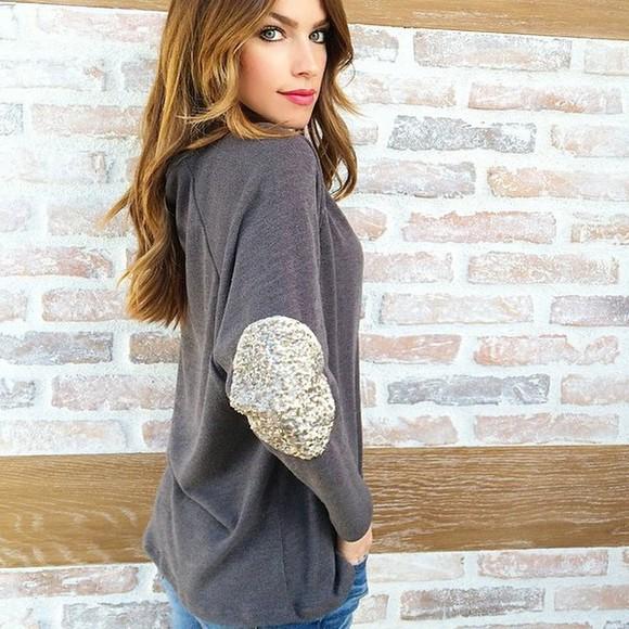 gray blouse glitz sequins
