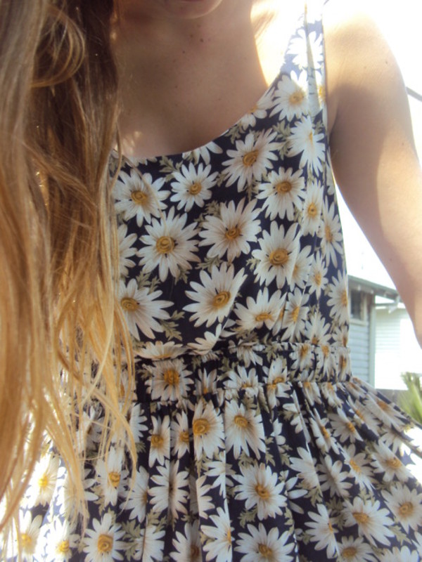 dress daisy floral dress blue white yellow summer floral