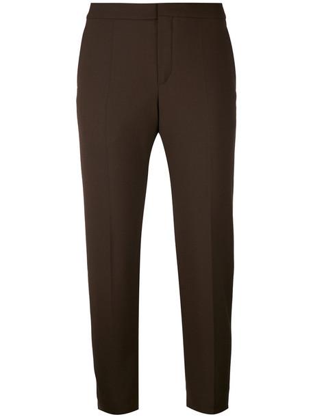 Chloe cropped women spandex silk wool brown pants