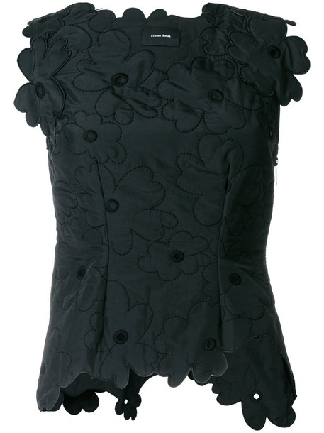 Simone Rocha - quilted floral top - women - Cotton/Polyamide/Polyester/Acetate - 8, Black, Cotton/Polyamide/Polyester/Acetate
