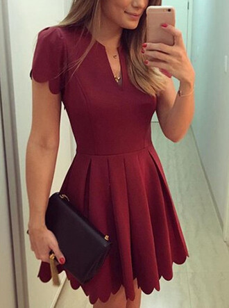 dress wine red skater shell skirt pleated skirt pleated cute red