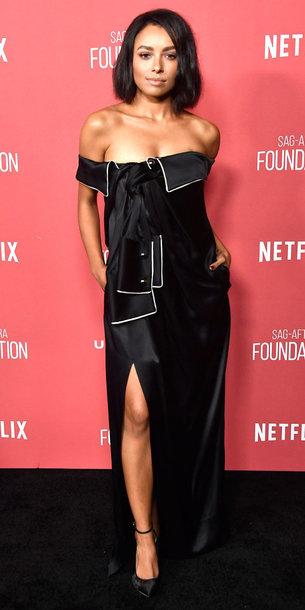 dress kat graham black dress slit dress off the shoulder off the shoulder dress