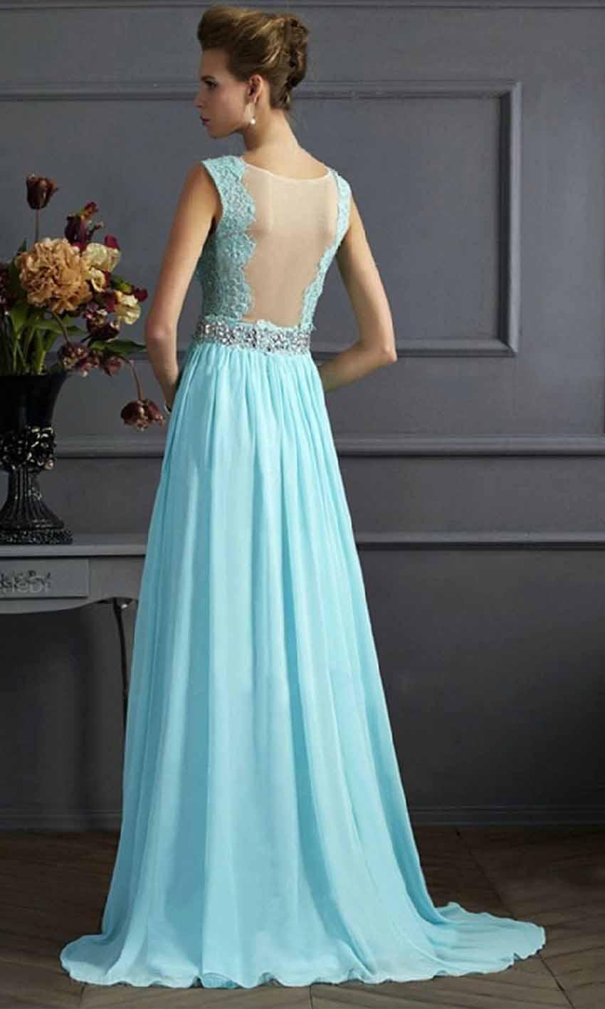 Turquoise Lace V-neck Long Prom Dress Sheer Back KSP459 [KSP459 ...