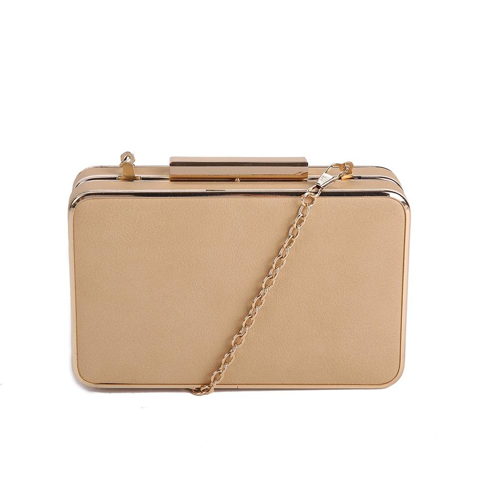 Box Clutch Bag - Brown - EVENING BAGS