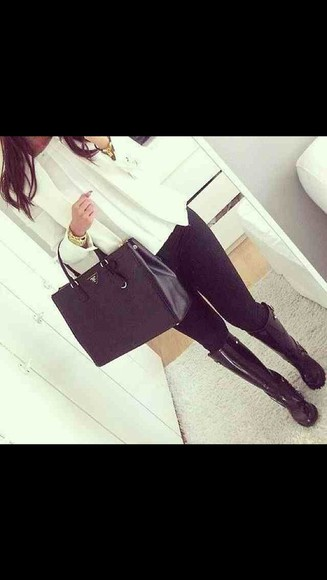 bag blouse shoes