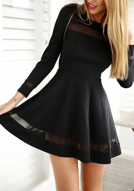 mesh dress black dress long sleeve dress skater dress short dress dress  boho dress shift dress af8d259f9