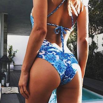 swimwear frankies bikini bikini one piece one piece swimsuit print blue dahlia blue white macrame macrame detail