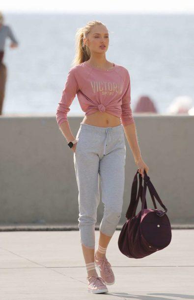 pants sweatpants sweatshirt romee strijd model sportswear victoria's secret victoria's secret model