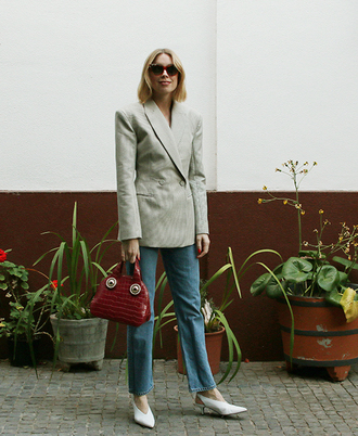 jacket tumblr blazer grey blazer denim jeans blue jeans work outfits pumps slingbacks white shoes shoes bag red bag sunglasses