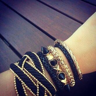 jewels bracelets set bracelets gold black stacked bracelets