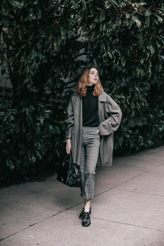 sea of shoes blogger pants coat bag derbies handbag grey coat grey pants fall outfits
