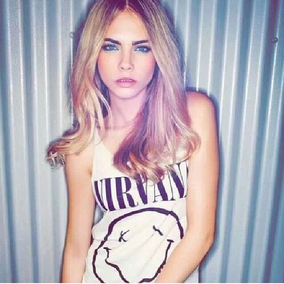 t-shirt cara delevingne nirvana shirt nirvana nirvana t-shirt girly, grunge, cute, nirvana, 90s