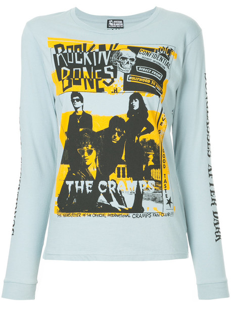 Hysteric Glamour - printed long sleeve T-shirt - women - Cotton - One Size, Blue, Cotton