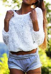 3D Rose Top - White - Lookbook Store