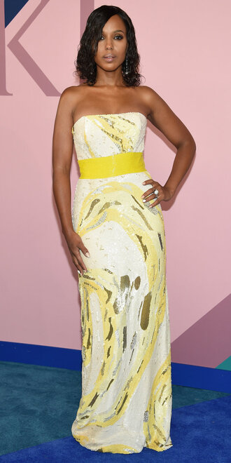 dress kerry washington gown strapless maxi dress sequins sequin dress cfda