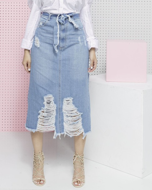 Skirt: denim, denim skirt, midi skirt, maxi skirt, ripped ...